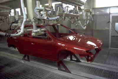 The spraying of the Xsara by robots